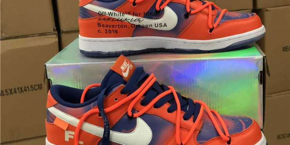 Brand New Off-White™ x Futura Laboratories Nike Dunk Low Orange/Dark Blue